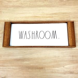 Rae Dunn. Washroom bathroom tray / sign wood NEW